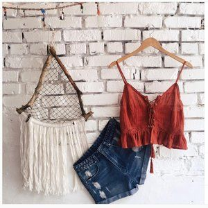 American Threads Orange Lace Up Crop Top